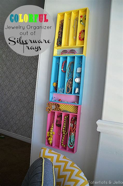 colorful silverware colorful jewelry organizers from silverware trays turn