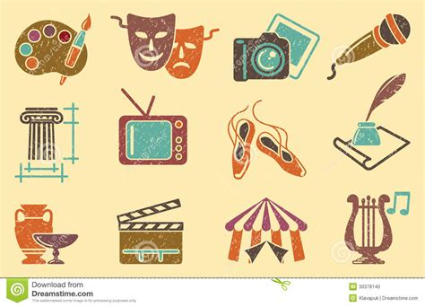 retro vintage style icon collection stock illustration background from icons of arts stock photo image 30378140