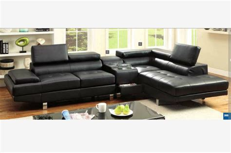 sectional with speakers black leather sectional sofa storage cosole bluetooth