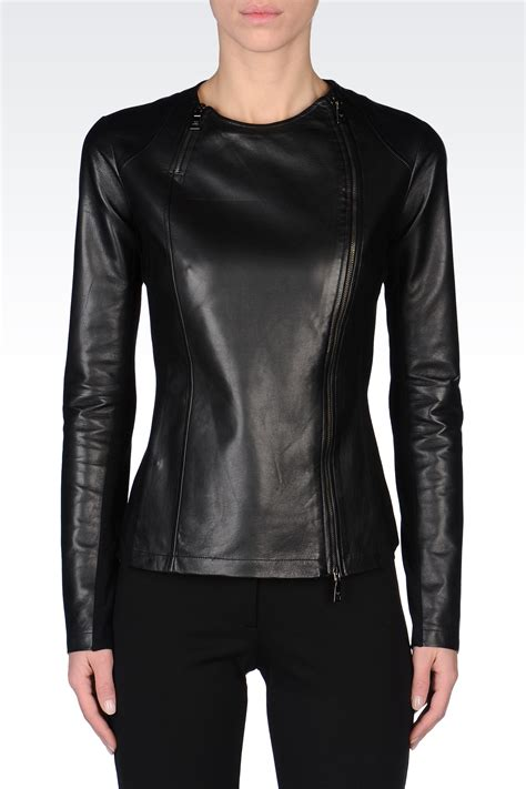Circle Leather Jacket lyst emporio armani neck leather jacket with asymmetric fastening in black