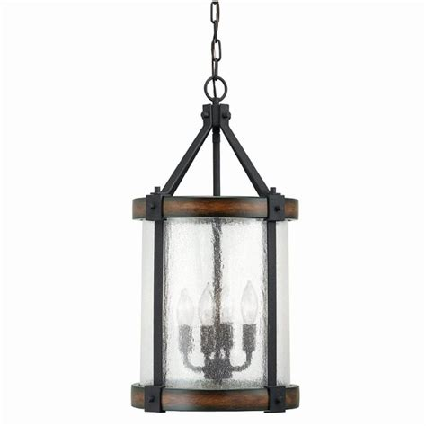 Lowes Hallway Lights by Shop Kichler Lighting Barrington 12 01 In W Distressed Black And Wood Pendant Light With Clear