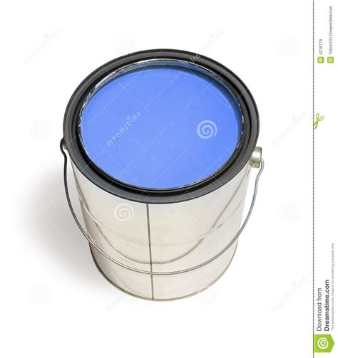 blue paint blue paint can stock image image of color work blue 4216779