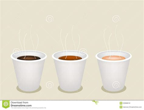 coffee cups types three kind of coffee in disposable cup stock photo image