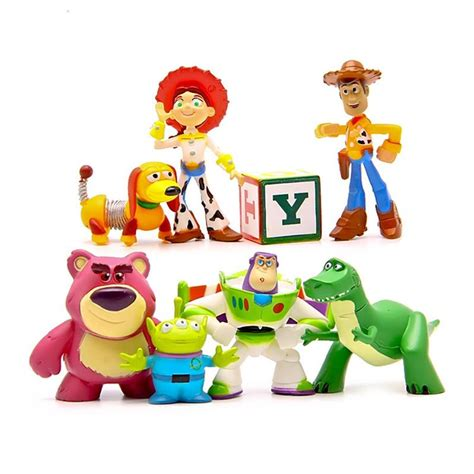 8 Pcs Mini Figure Set 8pcs set story 3 mini figures buzz lightyear woody pvc figure collection model