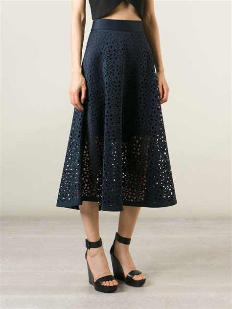dkny cut out a line skirt in blue lyst