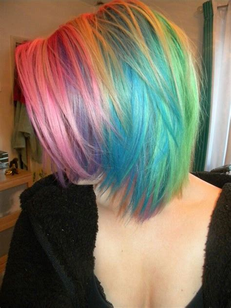 colorful short hair styles short rainbow hair pastel hair pinterest style