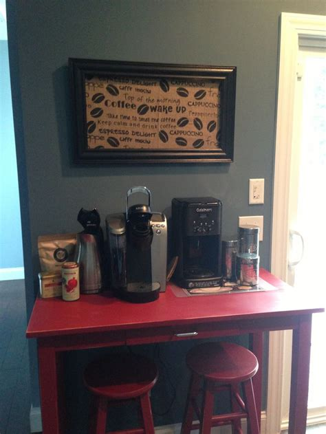 Coffee Station Table Coffee Station Burlap From Hobby Lobby With Black Frame Painted Table For The Home