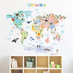 animal world map wall stickers world map wallpaper mural for kids room
