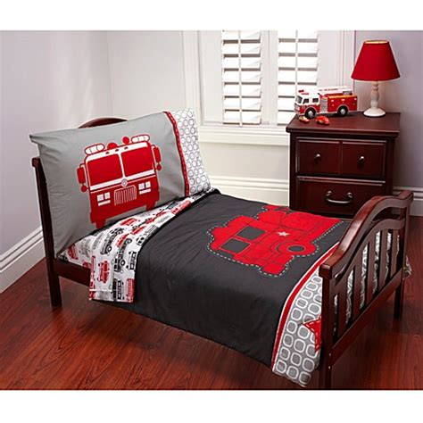 Carter S 174 Fire Truck 4 Piece Toddler Bedding Set Buybuy Baby Firetruck Crib Bedding