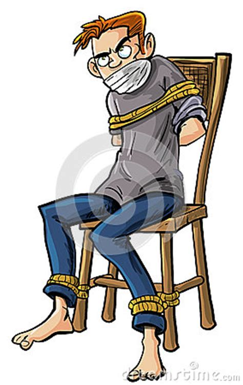 angry to a chair with ropes stock photos image