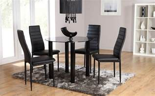 Dining Room Table And Chair Sets Solar Lunar Glass Dining Room Table And 2 4 Chairs Set Black Ebay