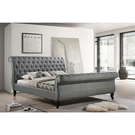 Grey Sleigh Bed Luxeo Nottingham Gray King Sleigh Bed K6317 Gry The Home Depot
