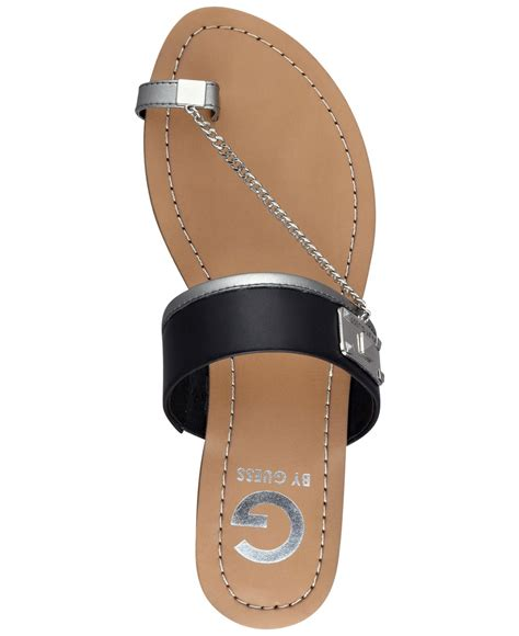 g by guess sandals lyst g by guess s lucia toe ring flat sandals in black