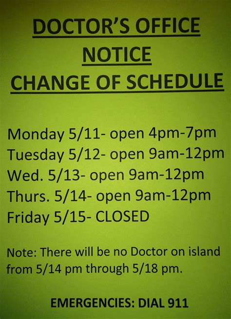 doctor s office hours notice may 11 18 fishersisland net