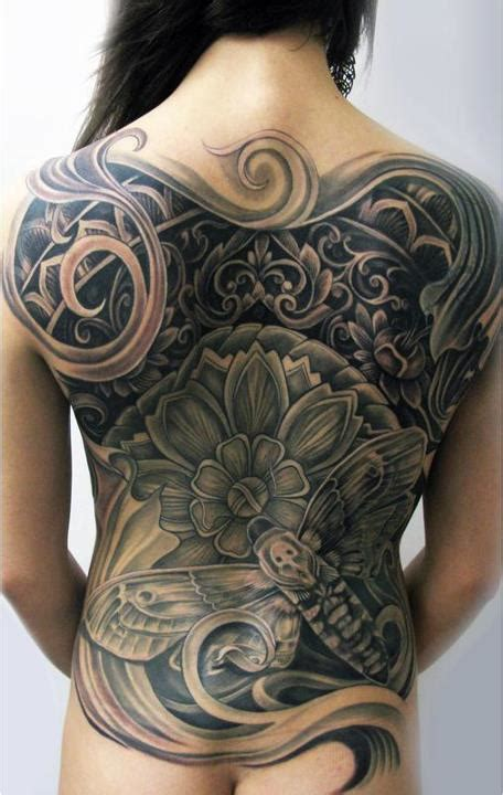 female back piece tattoo designs feminine several ideas