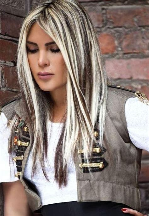 platinum blonde and dark brown highlights dark brown hair with blonde highlights hair pinterest