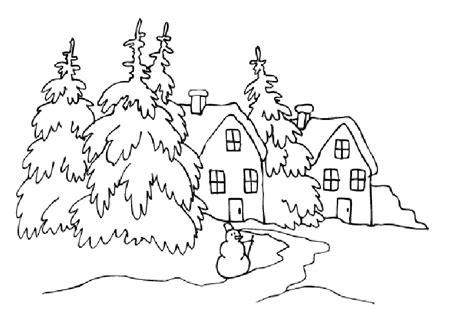 Landscape Pictures To Print And Colour Winter Landscape To Color Coloring