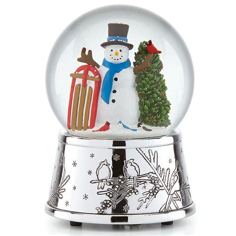 musical snowman snow globe snowman sleigh musical snowglobe figurines