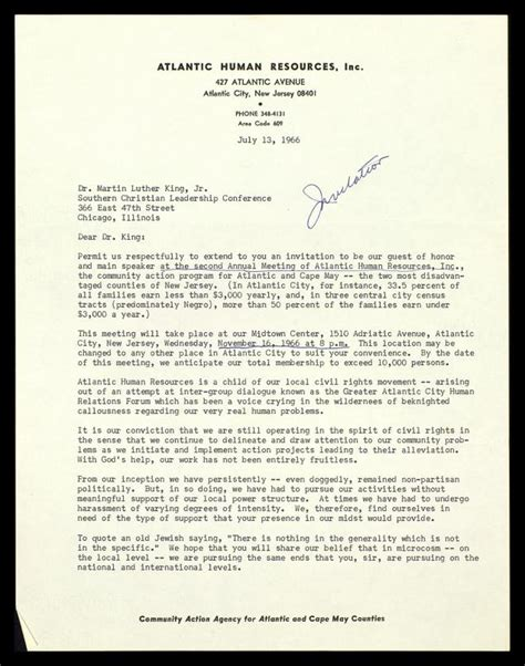 Invitation Letter As Guest Of Honor Letter From Atlantiv Human Resources To Mlk The Martin