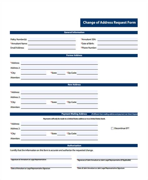 address request form printable change form