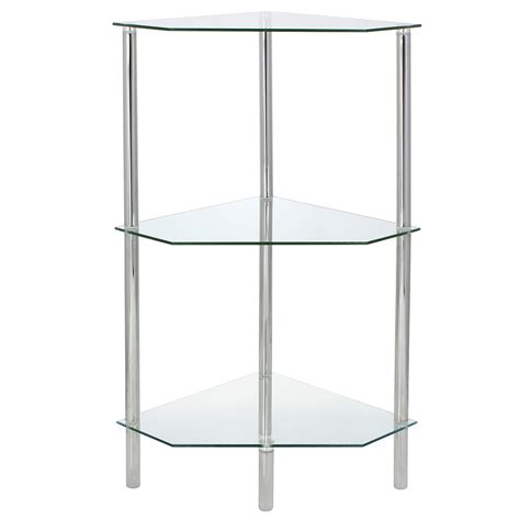 Bathroom Corner Shelving Unit Glass Corner Shelf Shelving Unit Display Bathroom End L Table Storage Ebay