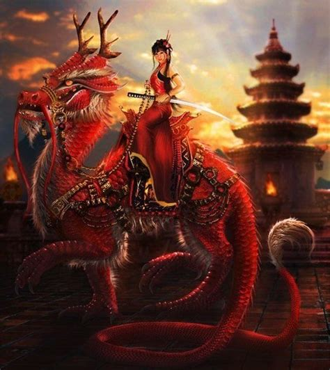 18 best dragons images on pinterest japanese dragon female chinese swordsman riding red oriental dragon