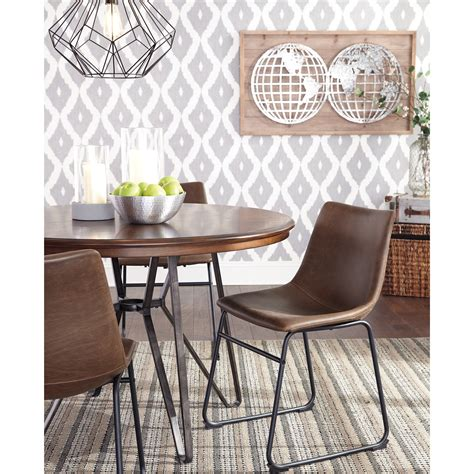 ashley dining room table ashley signature design centiar d372 15 round dining room table with metal hairpin legs dunk