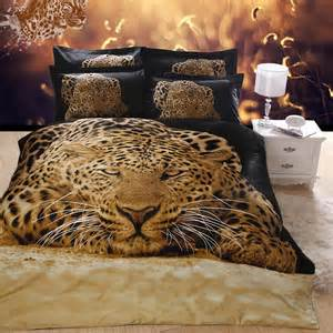 beautiful 3d painting cheetah black bedding set animal