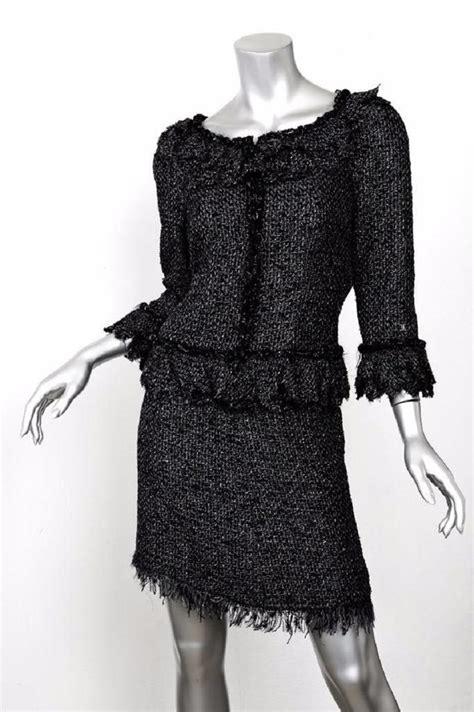 Set Chanel Grey Kid chanel black gray 06a boucle tweed layer metallic jacket