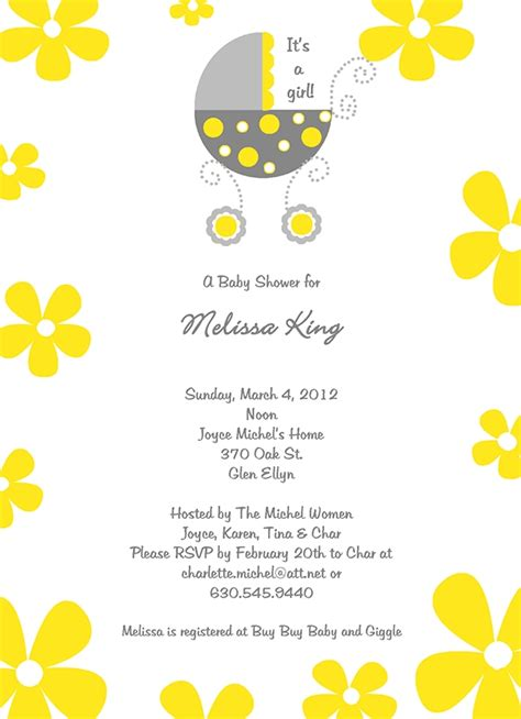 Yellow Gray Bassinet Baby Shower Invitation Pj Greetings Yellow And White Baby Shower Invitation Templates