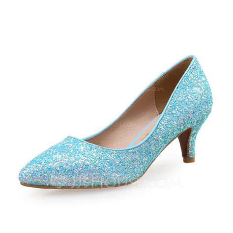 s sparkling glitter kitten heel pumps with sparkling