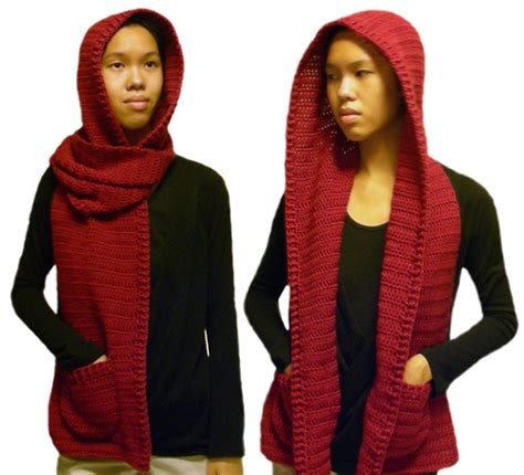 crochet hooded scarf pattern with pockets