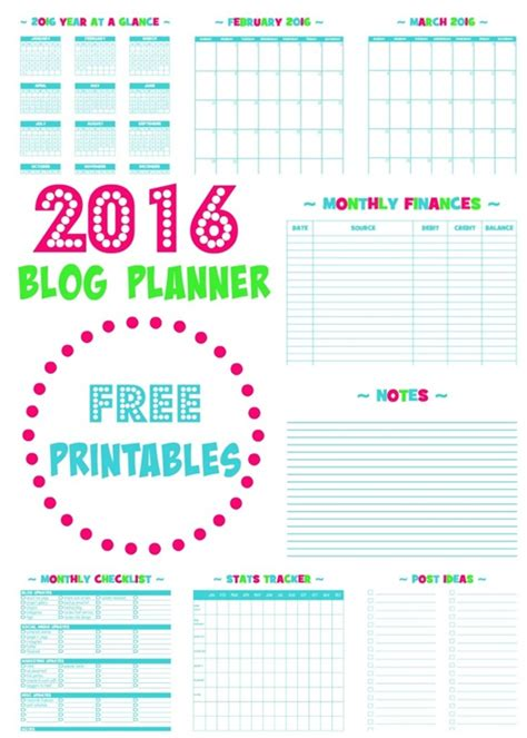 free blog planner printable 2016 6 printable blog planners for 2016 simply sweet home