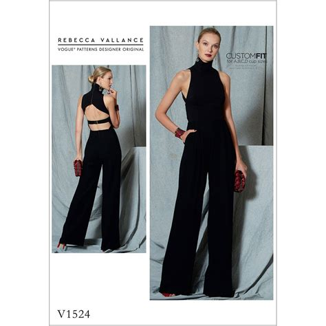 jumpsuit sewing pattern 2015 misses open back belted jumpsuit vogue sewing pattern