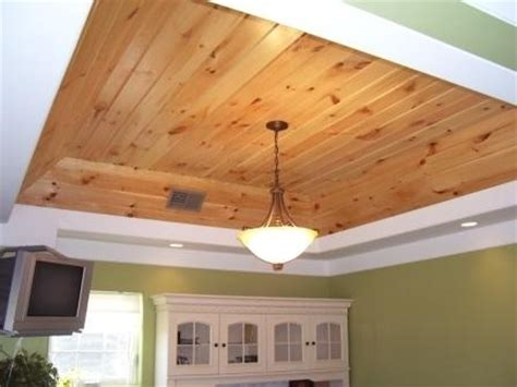 Pine Ceiling Designs by Knotty Pine Wood In Tray Ceiling