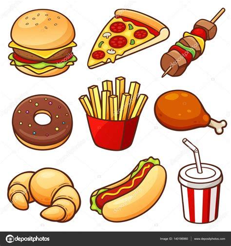 dibujo alimentos conjunto de dibujos animados alimentos vector de stock