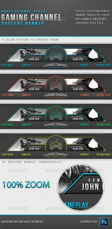 Gaming Channel Youtube Banner Banner Template And Banners Gaming Banner Template Psd