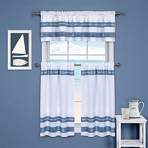 Bed Bath And Beyond Kitchen Curtains Ships And Chambray Kitchen Window Curtain Tier And Valance Bed Bath Beyond