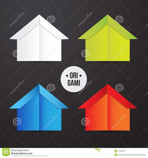 Origami 3d House - vector paper origami house icon colorful origamy set
