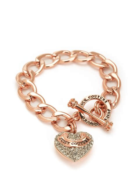 Juicy couture Pave Banner Heart Starter Bracelet in Pink   Lyst