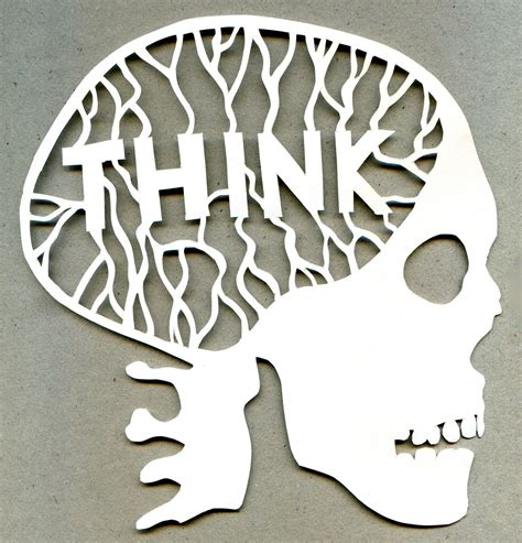 How To Make Paper Cut Outs - think paper cut out scull jake pearce and design