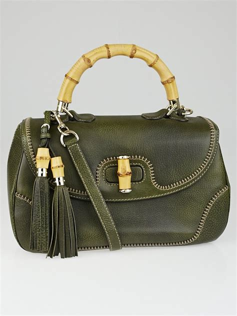 Gucci Safiano 9885 4 gucci olive green pebbled leather new bamboo large top handle bag yoogi s closet