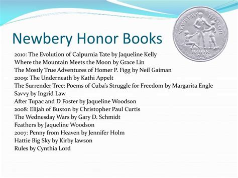 honor books ppt newbery award powerpoint presentation id 4102683