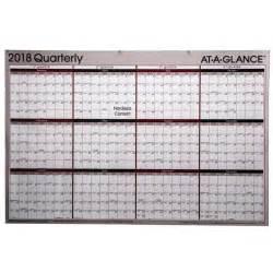Calendar 2018 At A Glance At A Glance 2018 Quarterly A123 A123 18 Erasable Wall