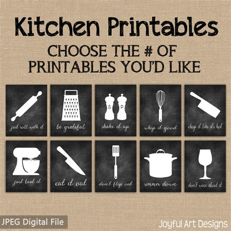 printable art signs kitchen decor printable signs set of chalkboard kitchen