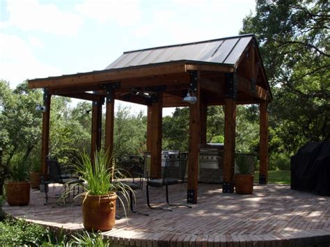 Patio with metal roof, tin roof outdoor kitchen design