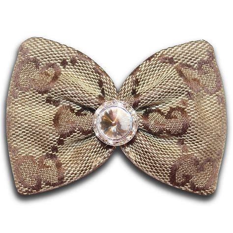 puppy hair bows designer gucci inspired brown monogram swarovski hair bow