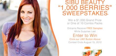 Beauty Products Sweepstakes - free sle of sibu beauty products and sweepstakes club freebies