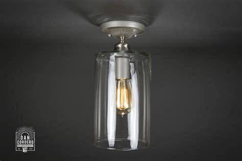 semi flush mount light fixtures semi flush light fixture wide cylinder brushed nickel