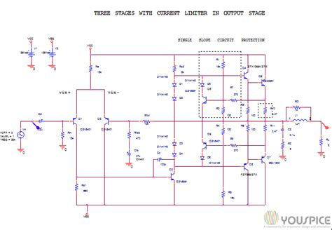 transistor lifier output stage three stages lifier with current limiter in the output stage youspice